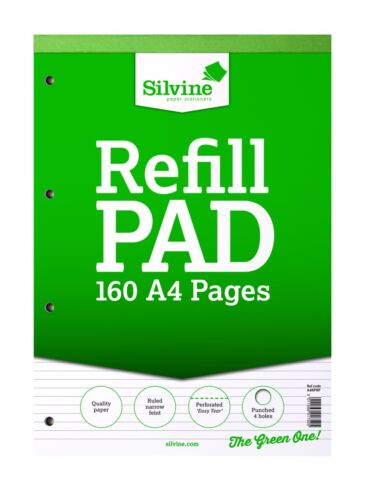 Ruled, Plain, Graph and Squares Silvine A4 Refill Pad 160 Pages