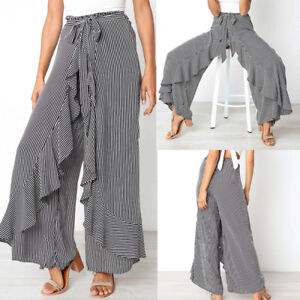 fc378e80b1 Image is loading Womens-Casual-Striped-Wide-Leg-Culottes-Trousers-High-