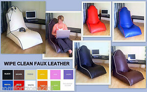 Image Is Loading ZIPPY FAUX LEATHER BEANBAG COMPUTER GAMING CHAIR Bean