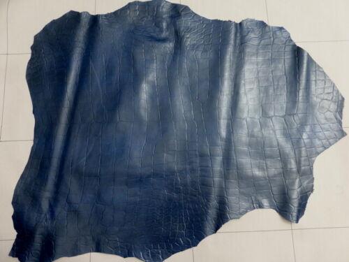 lambskin Sheep leather hide Full Bodied Dark Blue 2 Tone Crocodile Embossed 3oz
