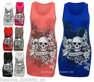 WOMENS-FOREVER-YOUNG-SKULL-PRINT-LADIES-VEST-TOP-TEE-T-SHIRT-PLUS-SIZE-8-20