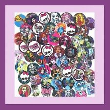 100 Precut assorted MONSTER HIGH BOTTLE CAP IMAGES Variety 1 inch discs round