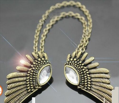 Antique Feather Shaped Collar Chain Shirt Tips Pin Brooch Connector Chain