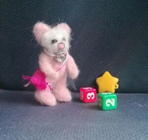 Needle-Felted-Animal-little-teddy-bear-Wool-Art-mini-Sculpture-ooak-gift-P
