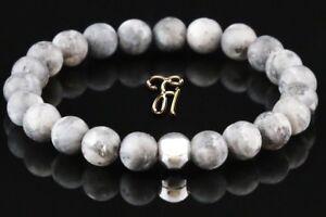 Larvikit-925er-sterling-Silber-Armband-Bracelet-Perlenarmband-grau-matt-8mm