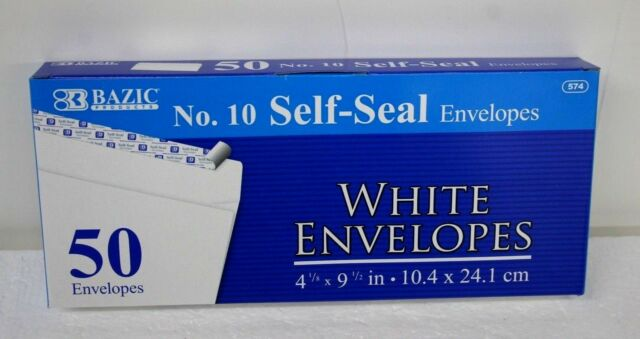 Peel and Self-Seal No.10 White Mailing Envelope 150 business size  4-1/8 x 9-1/2