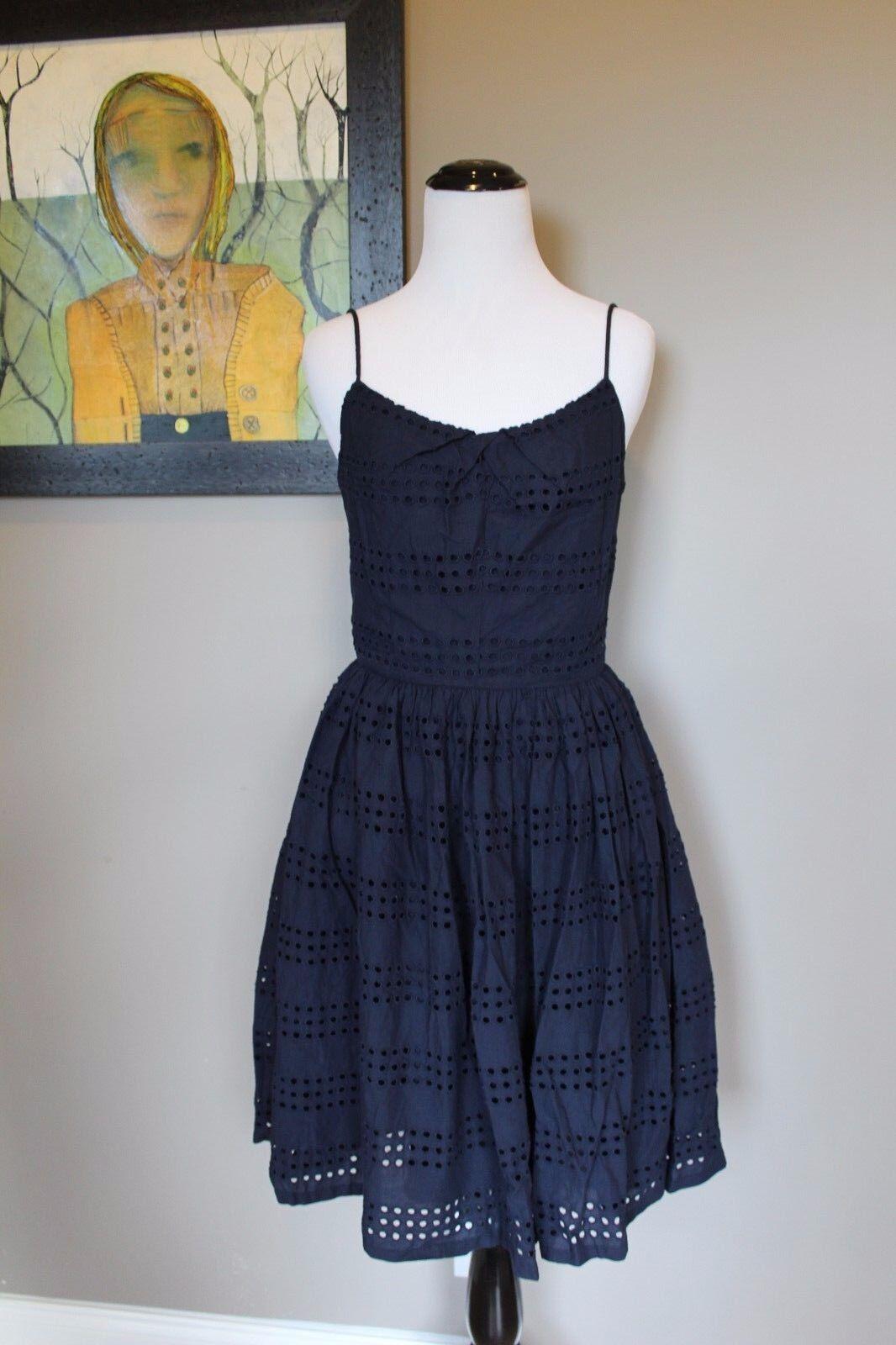 NWT J Crew Eyelet Stripe Dress in NAVY Sz 0 Extra Small XS A6588