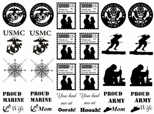 "Black Military Marine Army 5/""X7/"" Card Fused Glass Decals 15CC495"
