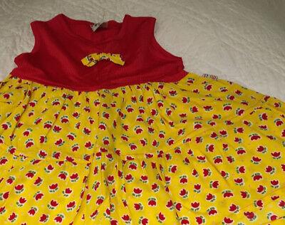 1 Hübsches Mädchenkleid Gr.80 Mills Gelb Rot Gemuster O. Arm Neu M. Etikett