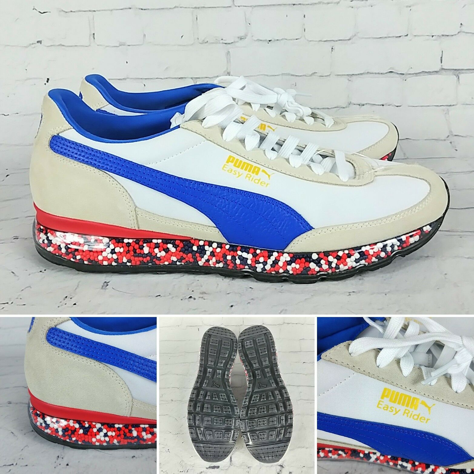 Puma Jamming Easy Rider Size 11 Red bluee Cream White Mens shoes NWOB 367832-04