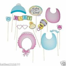 baby shower photo booth props on sticks photography unisex boy girl fun game