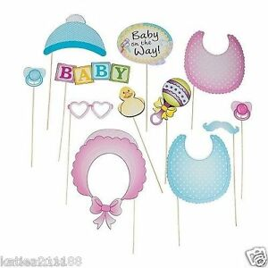 Baby Shower Photo Booth Props On Sticks Photography Unisex Boy Girl