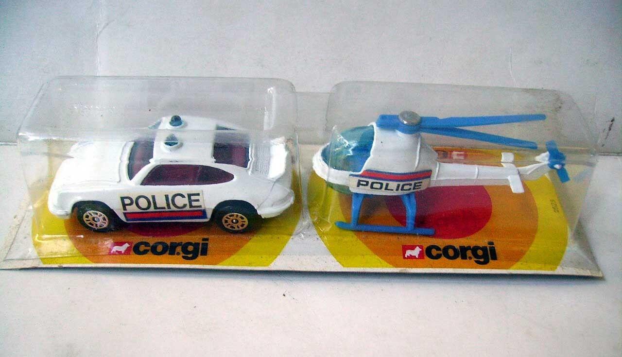 CORGI JUNIOR 2523 - PORSCHE 911 POLICE + HELICOPTERE BLANC - neuf