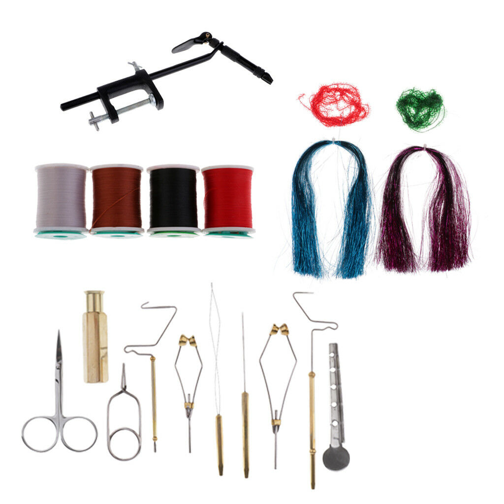Fly Tying Tool Kit with Vise,Materials, Pliers Bobbin Holder Bodkin 14 Tools