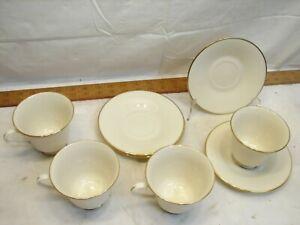 4 Lenox Hayworth Teacup & Saucer Fine China Cosmopolitan Ivory Gold Tea Cup