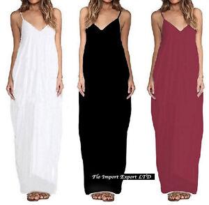 Vestito-Lungo-Donna-a-Canottiera-Maxi-Plain-Woman-Dress-110241