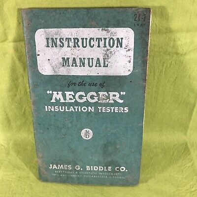 Instruction Manual Megger Insulation Testers James Biddle Co 1947 Ebay