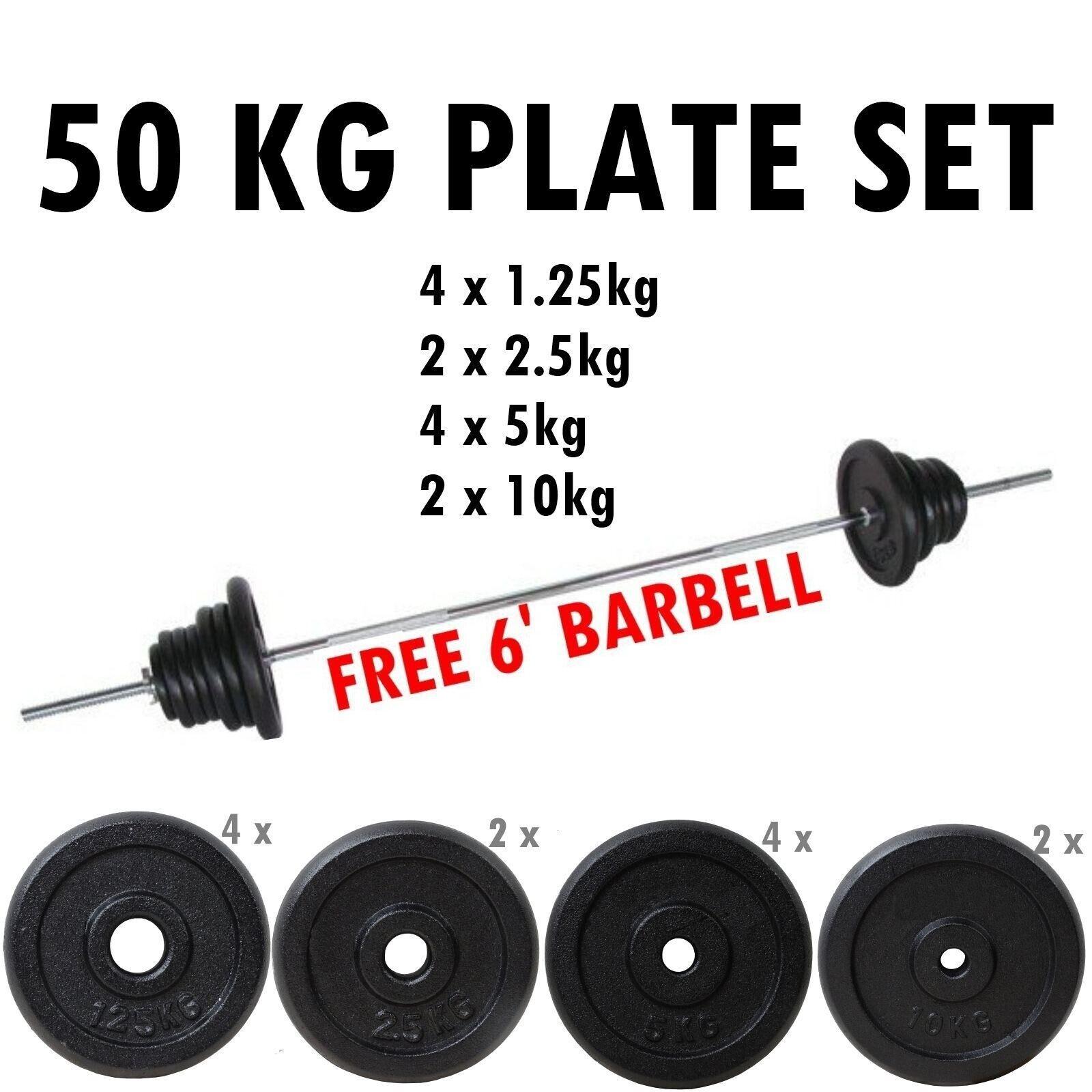 Bodyrip 50kg Bilanciere Set 2.5cm Foro Piastre Pesi Discs Eserzio Palestra Tuta