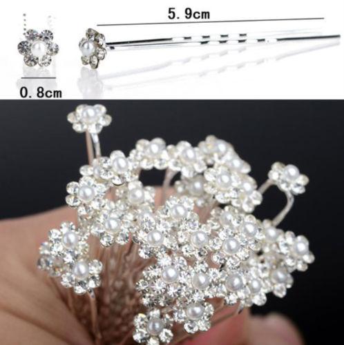 40 Strass Haarnadeln Kristall Strass Perle Kopfschmuck Hochzeit Brautschmuck