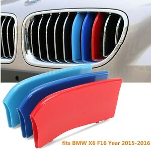 Kidney-3-Color-M-Tech-Grill-Grille-Trim-Stripes-Clips-Cover-For-BMW-X6-F16-15-17