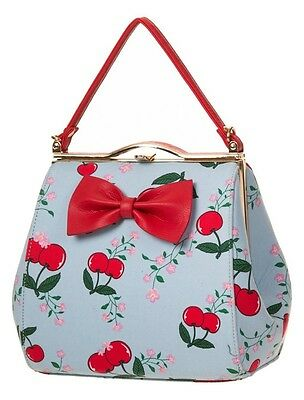 CHERRY and Floral Print Red Bow Clutch Bag Handbag By Banned 50s Rockabilly BLUE