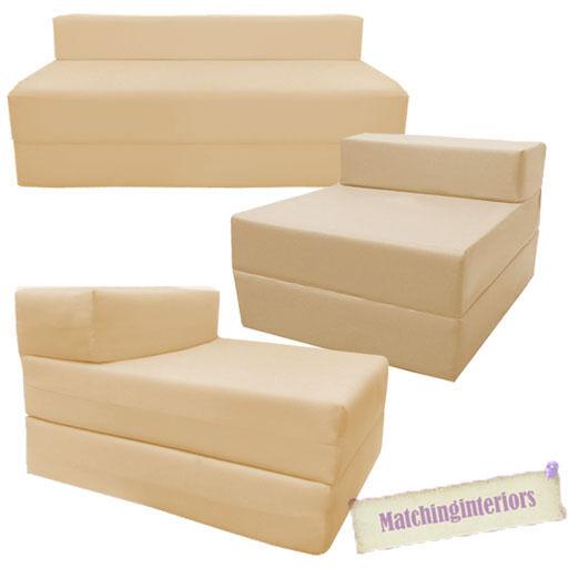 Beige Fold Out Guest Sofa Z Bed Sleeping Mattress Studio Student Indoor Outdoor