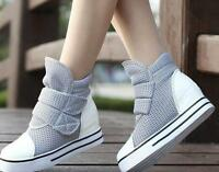 Womens high Wedge Heels Mesh High Top Canvas Sneakers athletic Shoes Ankle boots