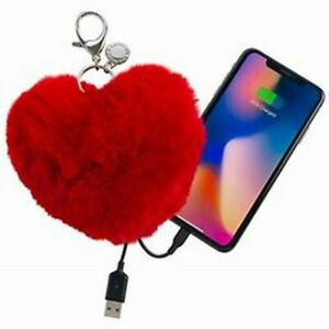 Rebecca Minkoff Heart Shape Rabbit Fur Power Puff Keychain iPhone Charger RED