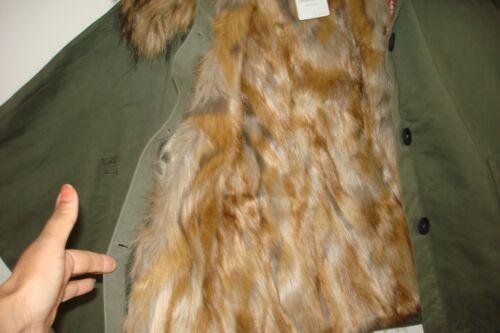 2 East Bnwt Gillet Size Uk amp; Jacket Faux Medium Large Ladies Khaki Fur Coat Way 55w6ngrqR