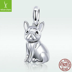Fashion-925-Sterling-Silver-Pendant-Bulldog-Dog-Charm-For-Women-Bracelet-Jewelry