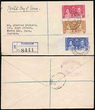Barbados 1937 INCORONAZIONE FDC a Charles Dickens nipote Herne Bay registrato