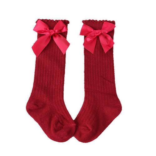 Lovely Bow Girls Socks Newborn Baby Kids Comfy Cotton Warm Stockings Age 0-4