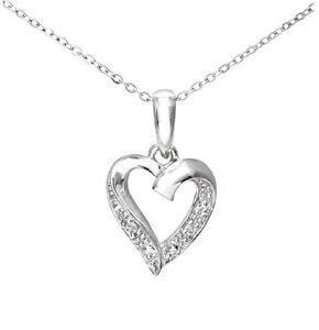 Para-mujeres-9-CT-Oro-Blanco-Diamante-Corazon-Colgante-Collar-de-Cadena-amp
