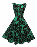 Rosa Rosa 1940's 50's Style Green Black Floral Rockabilly Party Prom Dress