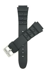 Bandini Black Rubber Sports Watch Band Strap, 2 Spring Bars,18mm & 20mm