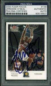 Jermaine-O-039-Neal-Authentic-Signed-Card-2000-Fleer-Focus-138-PSA-DNA-Slabbed