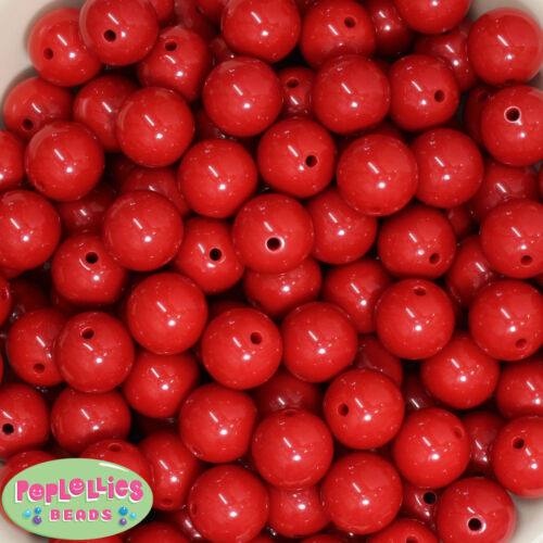 16mm Red Acrylic Solid Bubblegum Beads Lot 20 pc.chunky gumball