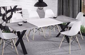Details zu hochwertiger Esstisch 130-170 ausziehbar Beton Küche Esszimmer  Metall modern