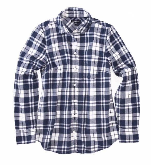 d5b26e97 J.CREW Mercantile Womens XXL White/navy Blue Plaid Flannel Button-down Shirt  for sale online | eBay
