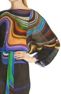 Julia Heuer NEW 1 Size Stretchy Shibori Illusion Print Dress + Sash Ramo Plisse