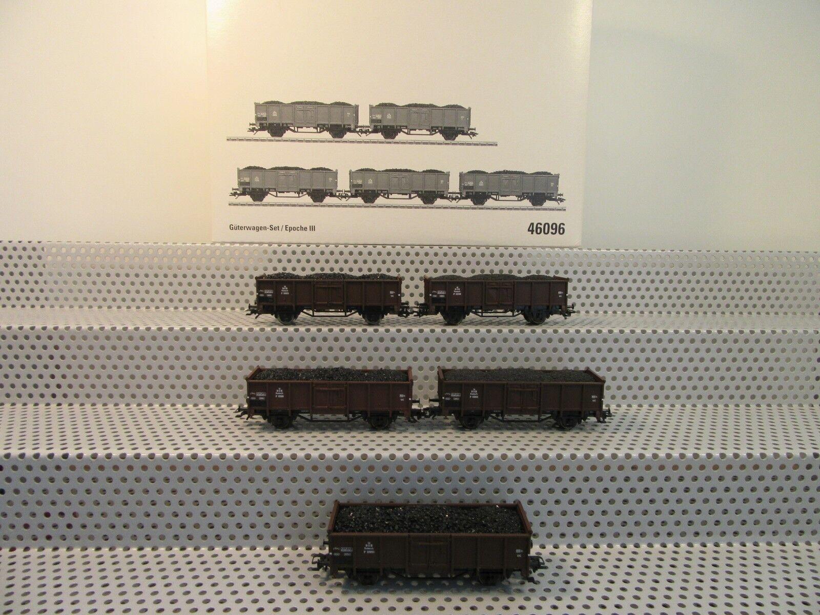 h0 46096 carri merci Set 5 pezzi alta bordo carrello carico della DSB in scatola originale
