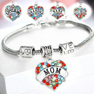 Image Is Loading Multicolor Family Charm Chain Love Grandma Bracelet Mom
