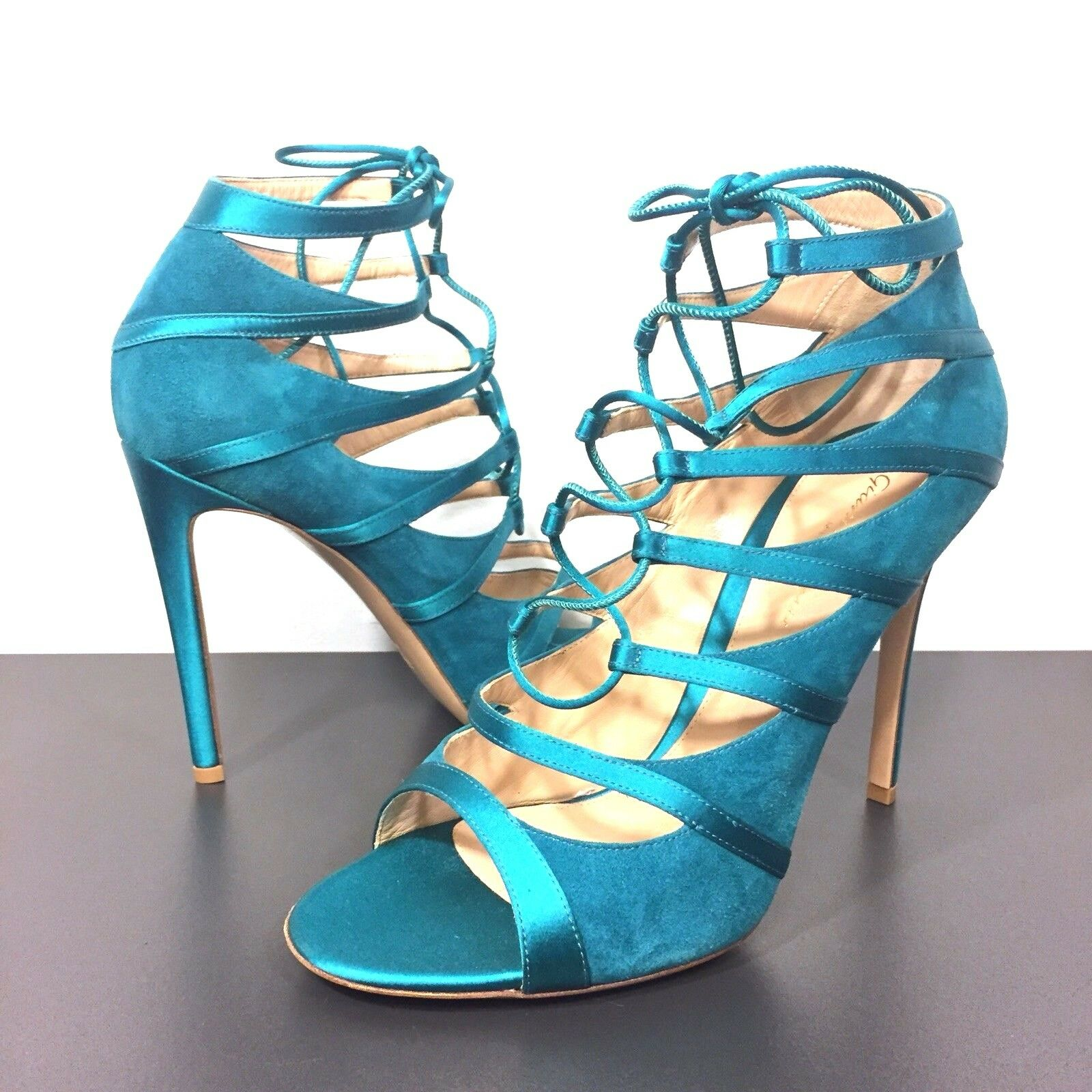 GIANVITO ROSSI Suede Satin Lace Up Open Toe Pumps Turquoise bluee 39 (MSRP  795)
