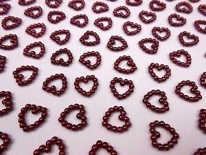 100 Perlenherzen Dunkel Rot Bordeaux - Beidseitig Glänzend - Tischdeko Hochzeit
