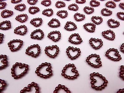 Tischdeko Hochzeit 100 Perlenherzen Dunkel Rot Bordeaux Beidseitig Glänzend