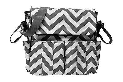 Chevron Unisex Baby Stroller Diaper Bag, Multi-pocket & Shoulder Stroller Straps