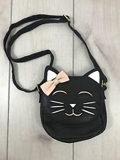 Black Kitty Kitten Cat Purse Handbag Shoulder Small Girls Bag