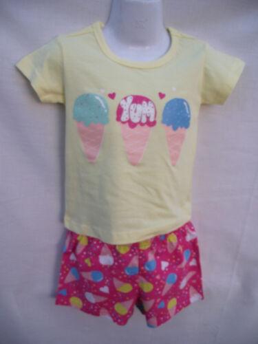 BNWT Girls Sz 2 Pink//Yellow Icecream Soft Stretch Knit Short Summer PJ Pyjamas