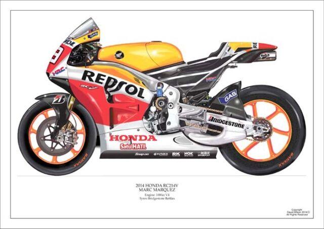 Mark Marquez 2014 ltd.ed. art print/250 Repsol Honda RC214V