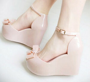 Sweet-Women-039-s-Jelly-sandals-open-toe-platform-summer-bowknot-wedge-sandals-shoes